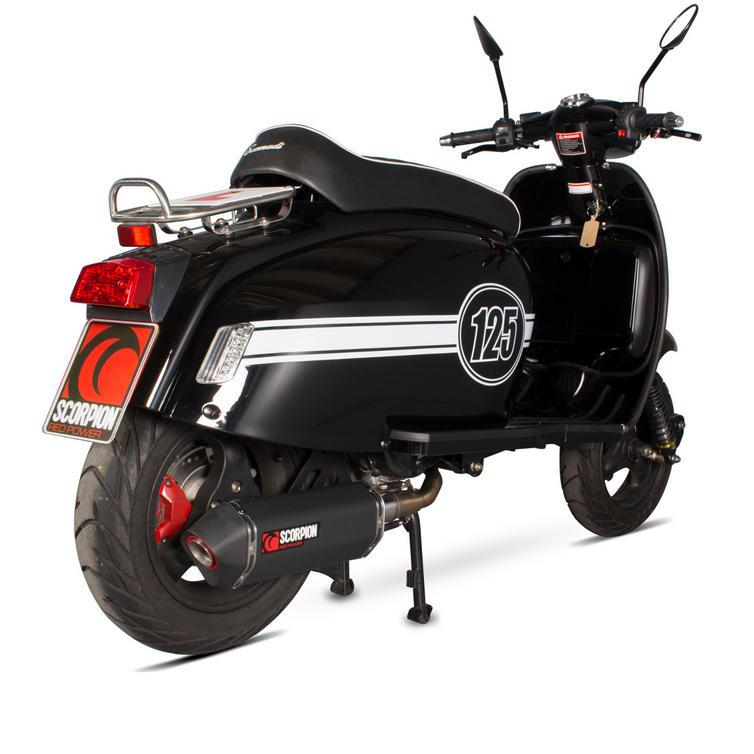 Scorpion Serket Parallel Black Ceramic Oval Exhaust - Scomadi TL 125 15+