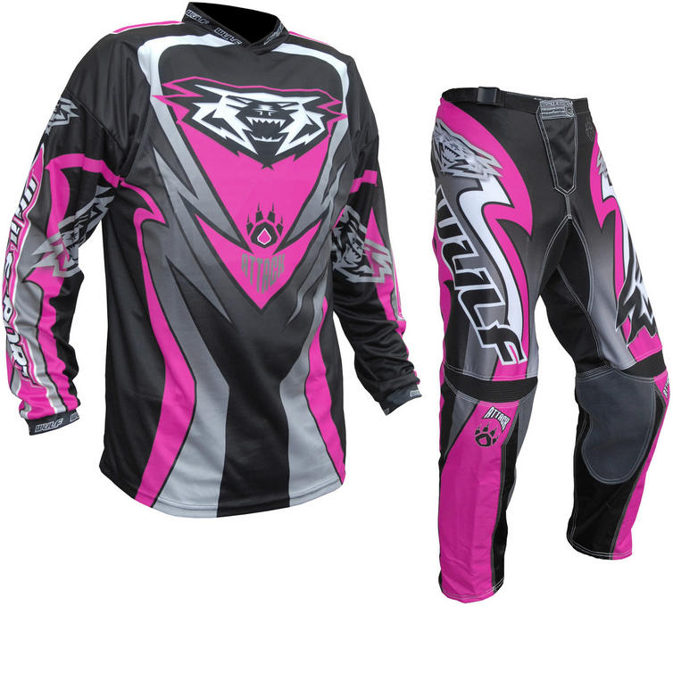 Wulf Attack Cub Motocross Jersey & Pants Pink Kit