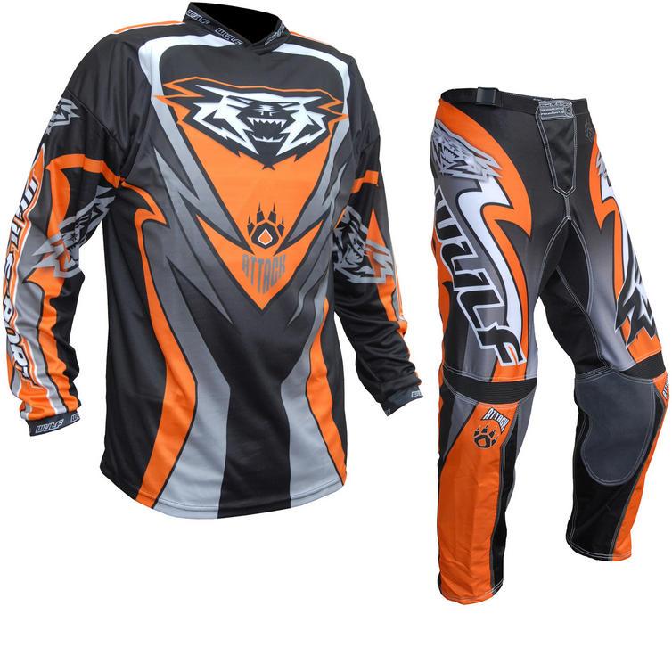 Wulf Attack Adult Motocross Jersey & Pants Orange Kit