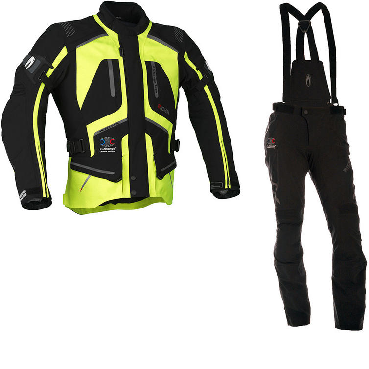 Richa Touring C-Change Motorcycle Jacket & Trousers Fluo Yellow Black Kit