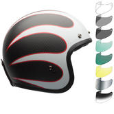 Bell Custom 500 Carbon Ace Cafe Ton Up Deluxe Open Face Motorcycle Helmet & Visor