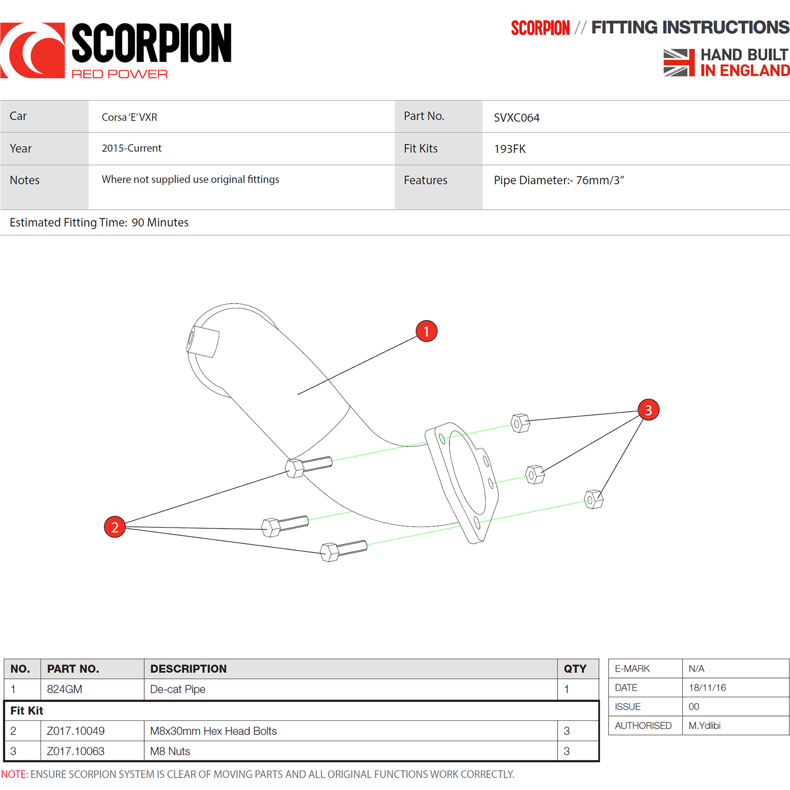 Scorpion Exhaust De Cat Turbo Downpipe Vauxhall Corsa E Vxr Sports Turbocharger Diagram Of Engine Sentinel Svxc064 Car With Catalyst Replacement