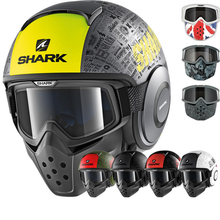 Shark Drak Tribute RM Open Face Motorcycle Helmet with Goggle & Mask Kit
