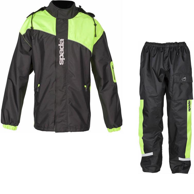 Spada Aqua Brite Motorcycle Over Jacket & Trousers Black Flo Kit