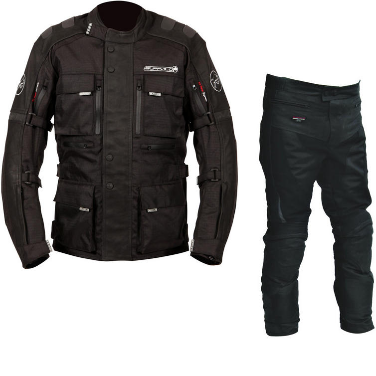 Buffalo Explorer Leather Jacket & Endurance Trousers Motorcycle Black Kit
