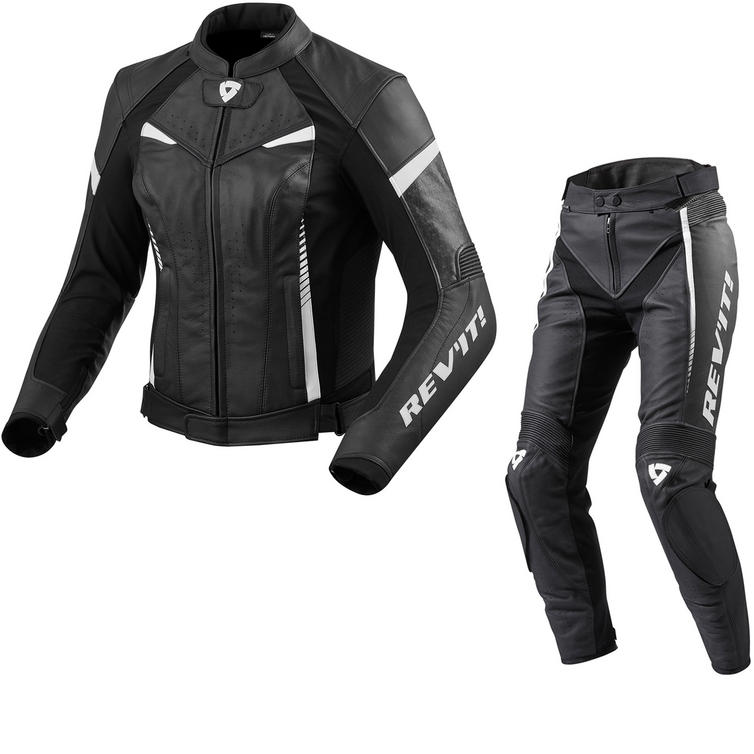 Rev It Xena 2 Ladies Leather Motorcycle Jacket & Trousers Black White Kit