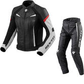 Rev It Xena 2 Ladies Leather Motorcycle Jacket & Trousers White Red Black Kit