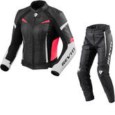 Rev It Xena 2 Ladies Leather Motorcycle Jacket & Trousers White Fuchsia Black Kit