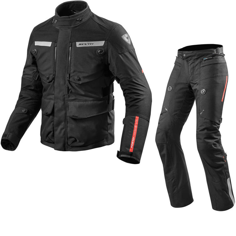Rev It Horizon 2 Motorcycle Jacket & Trousers Black Kit