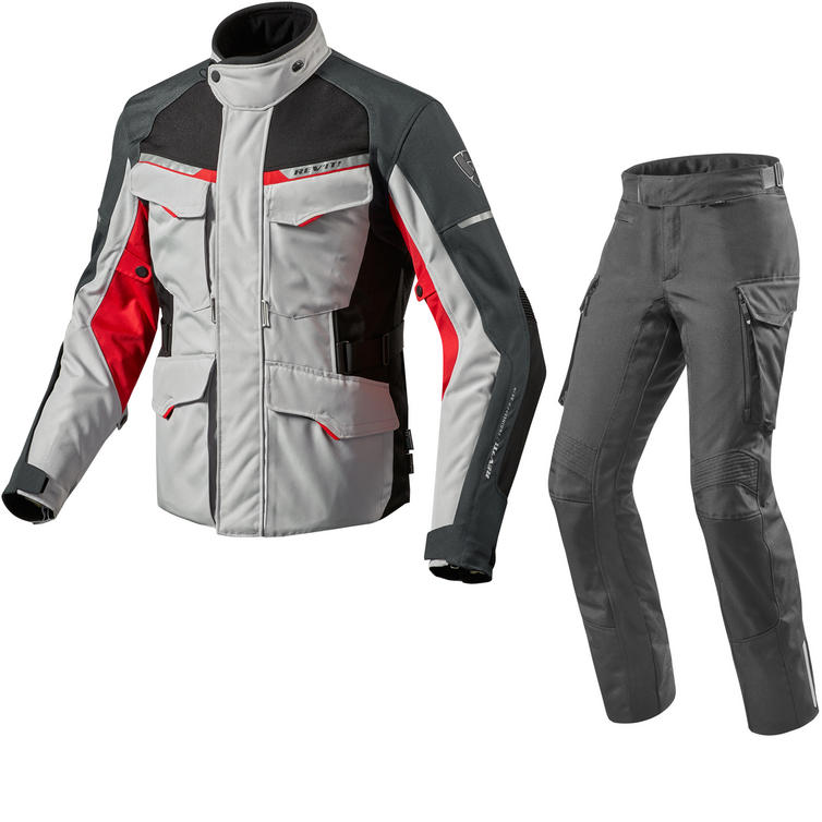 Rev It Outback 2 Motorcycle Jacket & Trousers Silver Red Black Kit