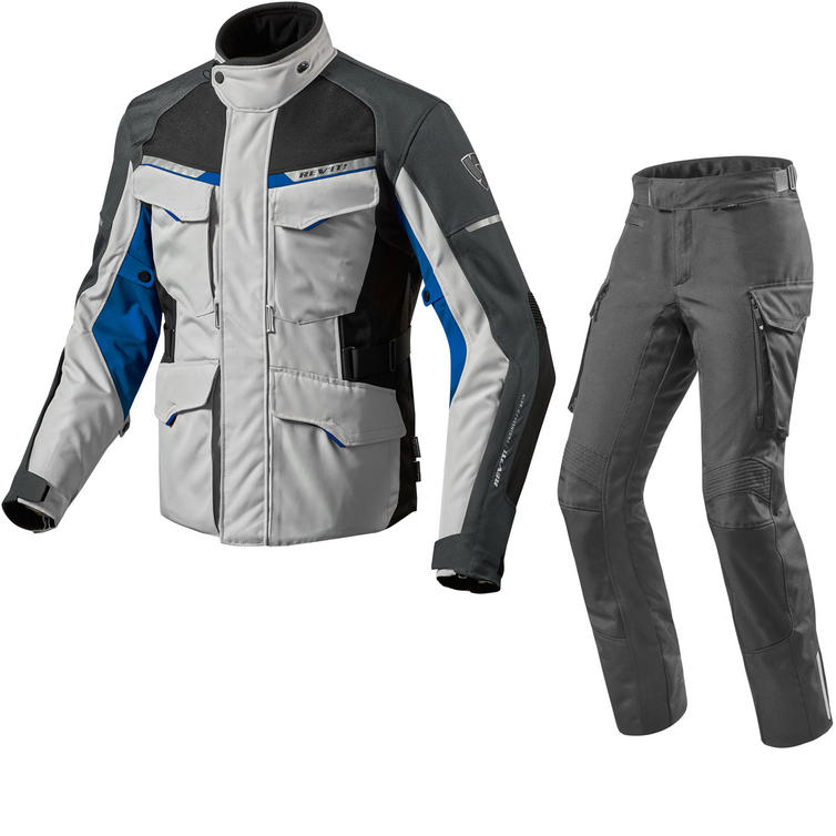Rev It Outback 2 Motorcycle Jacket & Trousers Silver Blue Black Kit