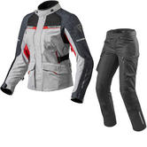 Rev It Outback 2 Ladies Motorcycle Jacket & Trousers Silver Red Black Kit