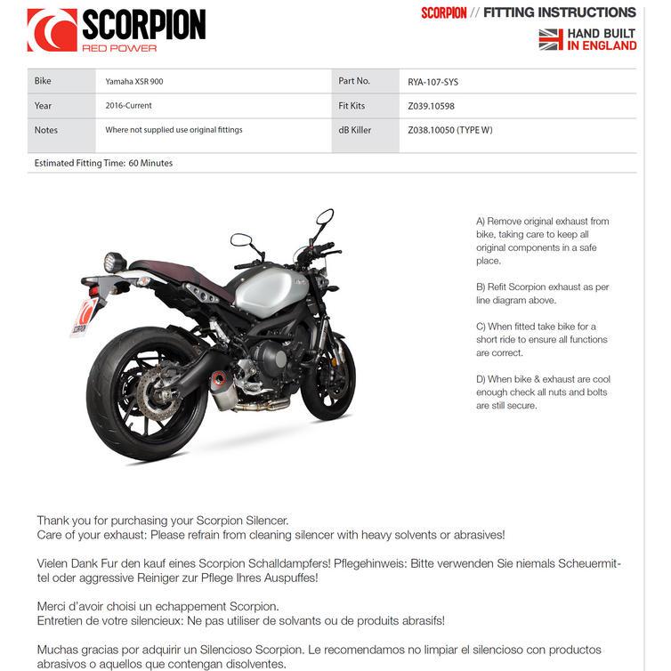 lrgscale14218 RYA107SYSCEO Scorpion Parallel Carb Oval Yamaha XSR 900 Full Sys 1600 10 scorpion serket parallel carbon oval exhaust yamaha xsr 900 full xlr wiring diagram at readyjetset.co