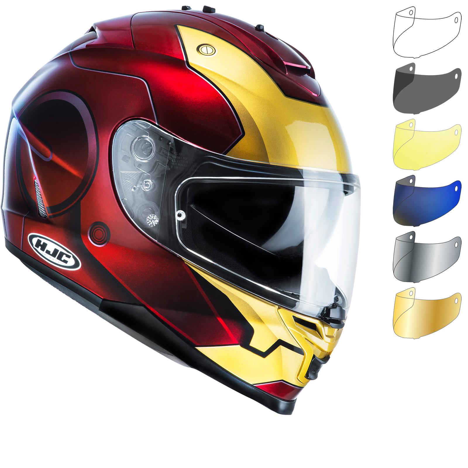 hjc is 17 iron man motorcycle helmet visor full face helmets. Black Bedroom Furniture Sets. Home Design Ideas