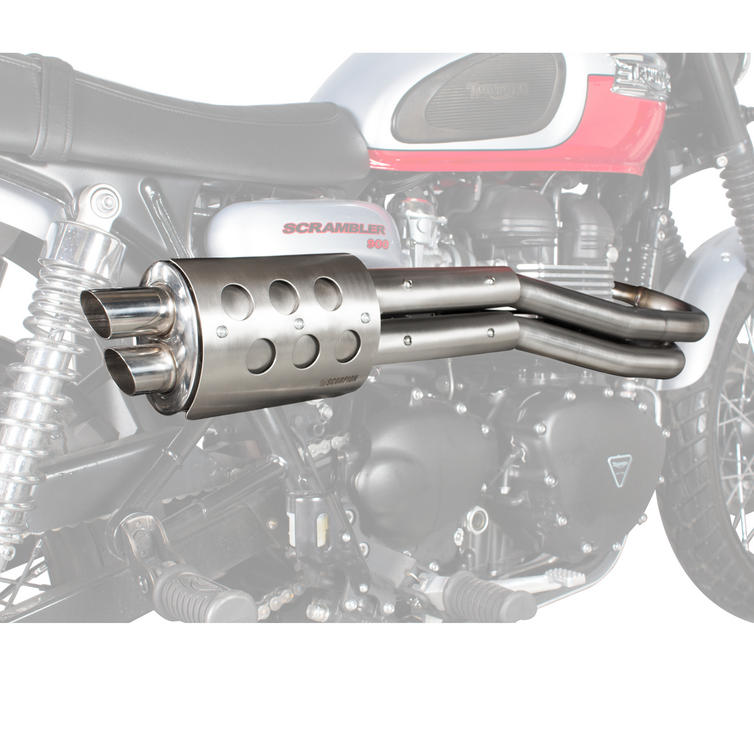 Scorpion Custom Stainless Exhaust Silencer + Heat Shield - Triumph Scrambler Full System 13-17