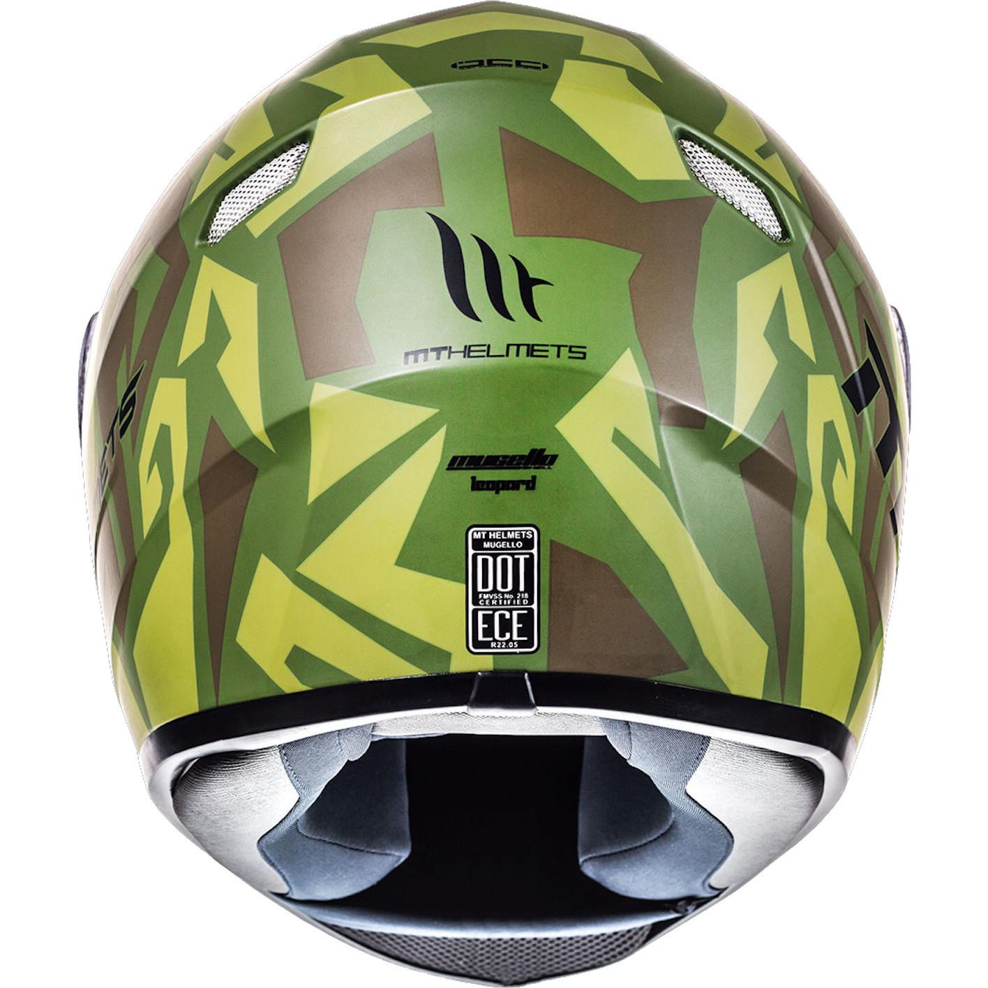 MT Mugello Leopard Matt Green Military Motorbike Helmet