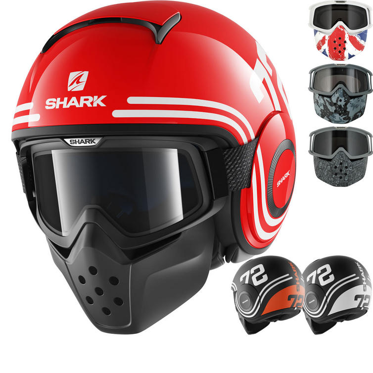 Shark Drak 72 Open Face Motorcycle Helmet with Goggle & Mask Kit