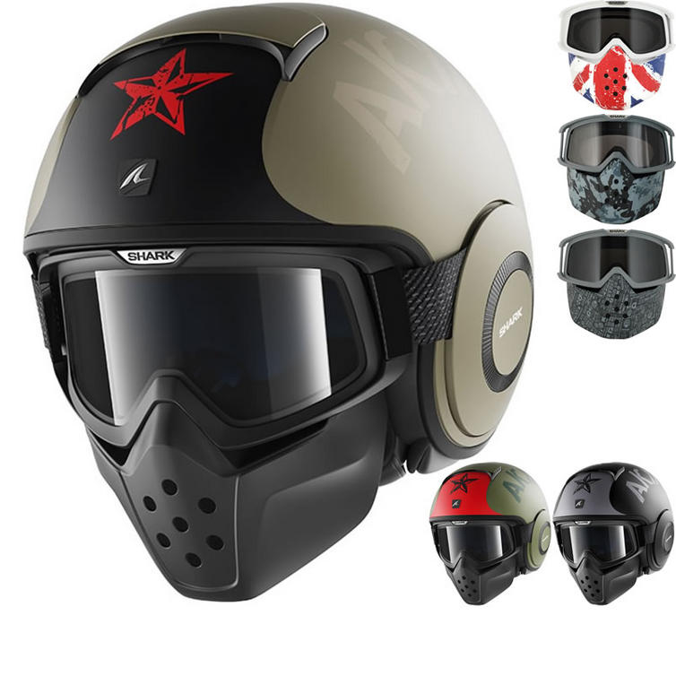 Shark Drak Soyouz Open Face Motorcycle Helmet with Goggle & Mask Kit