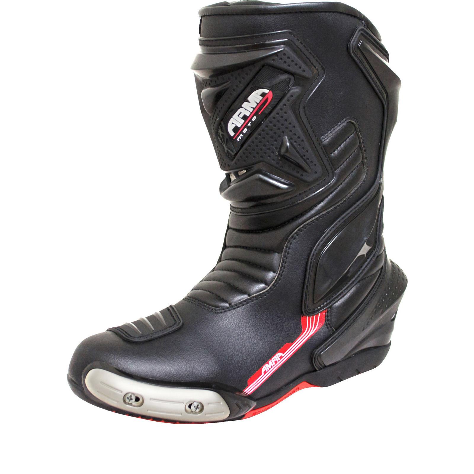 armr moto motegi wp leather motorcycle boots new. Black Bedroom Furniture Sets. Home Design Ideas