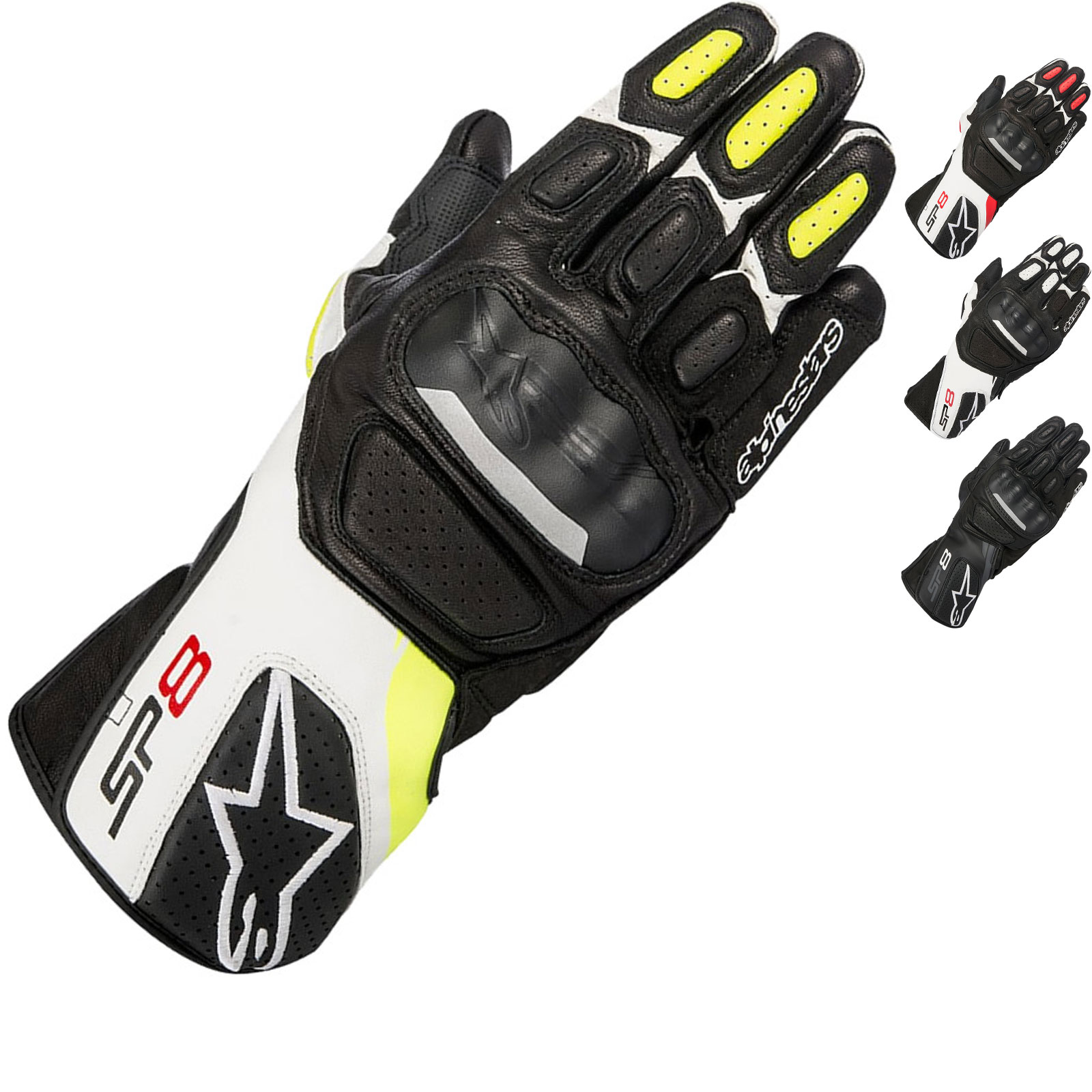 Alpinestars SP-8 v2 Leather Black Yellow Fluo Motorcycle Motorbike Touring Glove