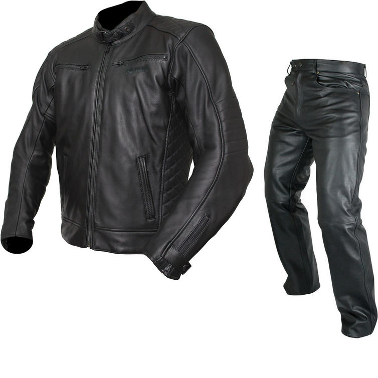 ARMR Moto Kenji Leather Motorcycle Jacket & Trousers Black Kit