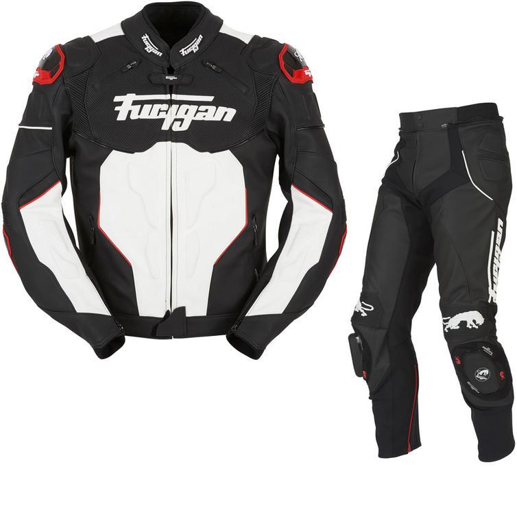 Furygan Raptor Leather Motorcycle Jacket & Trousers Black White Red Kit