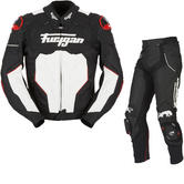 Furygan Raptor Leather Motorcycle Jacket & Trousers Black White Red Kit