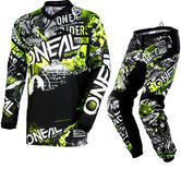 Oneal Element 2018 Attack Youth Motocross Jersey & Pants Black Hi-Viz Kit