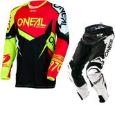 Oneal Hardwear 2018 Flow True Motocross Jersey & Pants Red Hi-Viz Black Kit