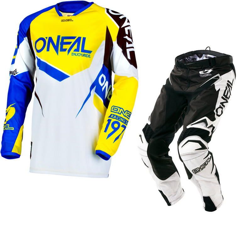 Oneal Hardwear 2018 Flow True Motocross Jersey & Pants Blue Yellow Black Kit