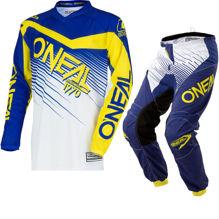 Oneal Element 2018 Racewear Youth Motocross Jersey & Pants Blue Yellow Kit