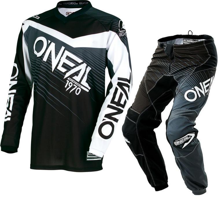 Oneal Element 2018 Racewear Youth Motocross Jersey & Pants Black Gray Kit