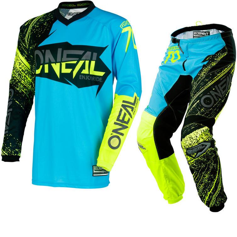 Oneal Element 2018 Burnout Motocross Jersey & Pants Black Blue Hi-Viz Kit