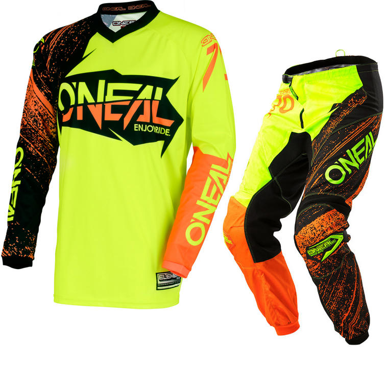 Oneal Element 2018 Burnout Motocross Jersey & Pants Black Hi-Viz Orange Kit