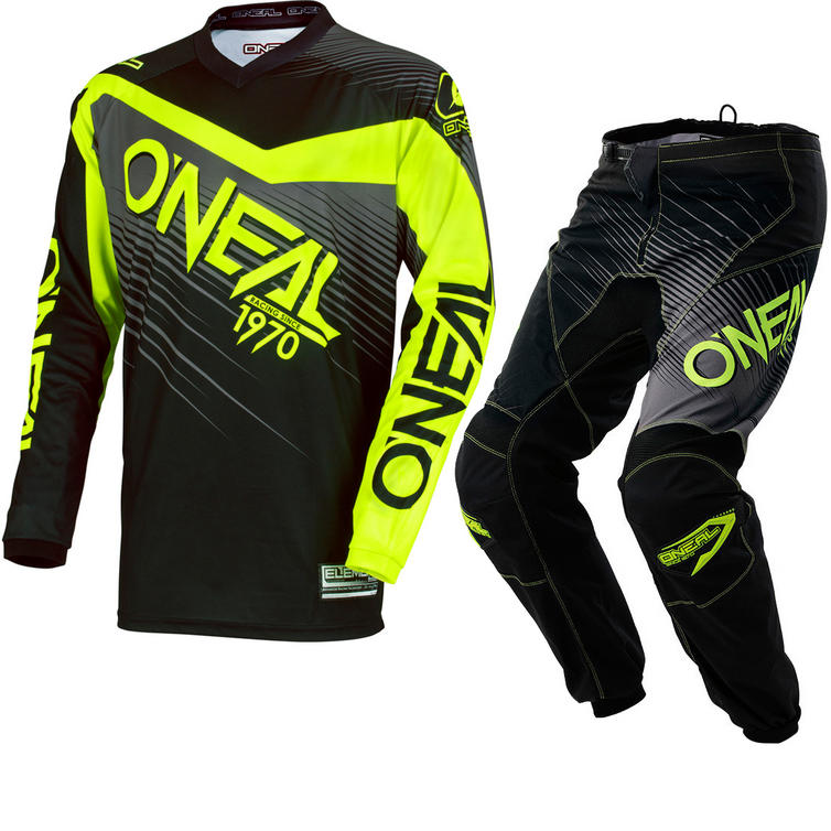 Oneal Element 2018 Racewear Motocross Jersey & Pants Black Hi-Viz Kit