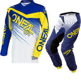 Oneal Element 2018 Racewear Motocross Jersey & Pants Blue Yellow Kit