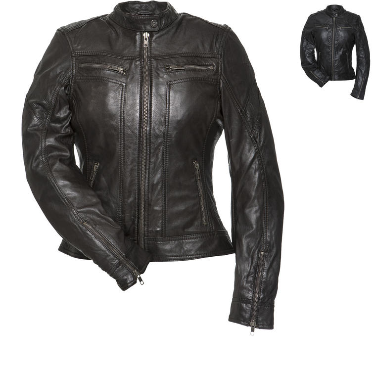 Black Athena Ladies Leather Motorcycle Jacket