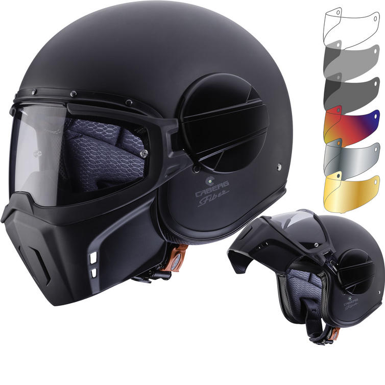 Caberg Ghost Matt Black Open Face Motorcycle Helmet & Visor