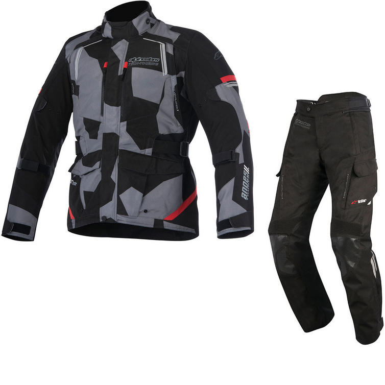 Alpinestars Andes DryStar v2 Motorcycle Jacket & Trousers Black Camo Red Black Kit