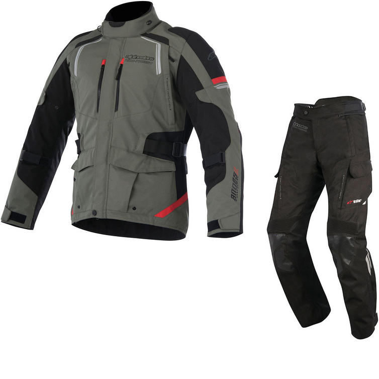 Alpinestars Andes DryStar v2 Motorcycle Jacket & Trousers Military Green Red Black Kit