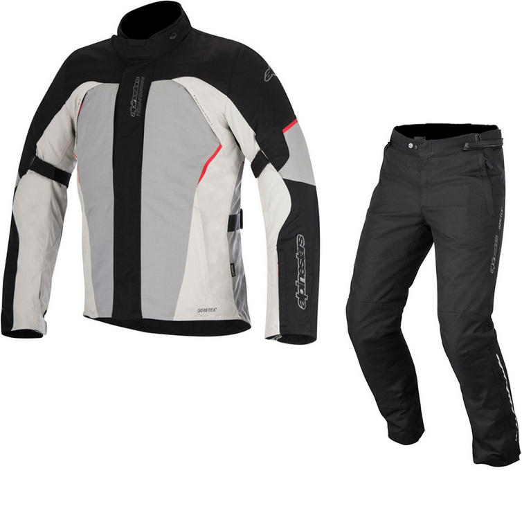 Alpinestars Ares Gore-Tex Jacket & Patron Gore-Tex Trousers Motorcycle Black Grey Red Black Kit