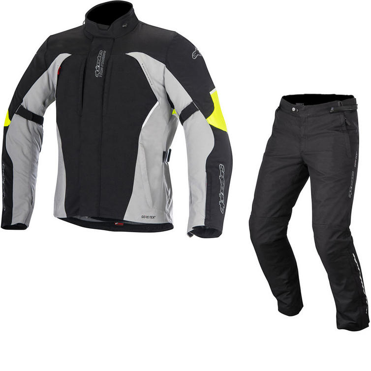 Alpinestars Ares Gore-Tex Jacket & Patron Gore-Tex Trousers Motorcycle Black Grey Fluo Black Kit