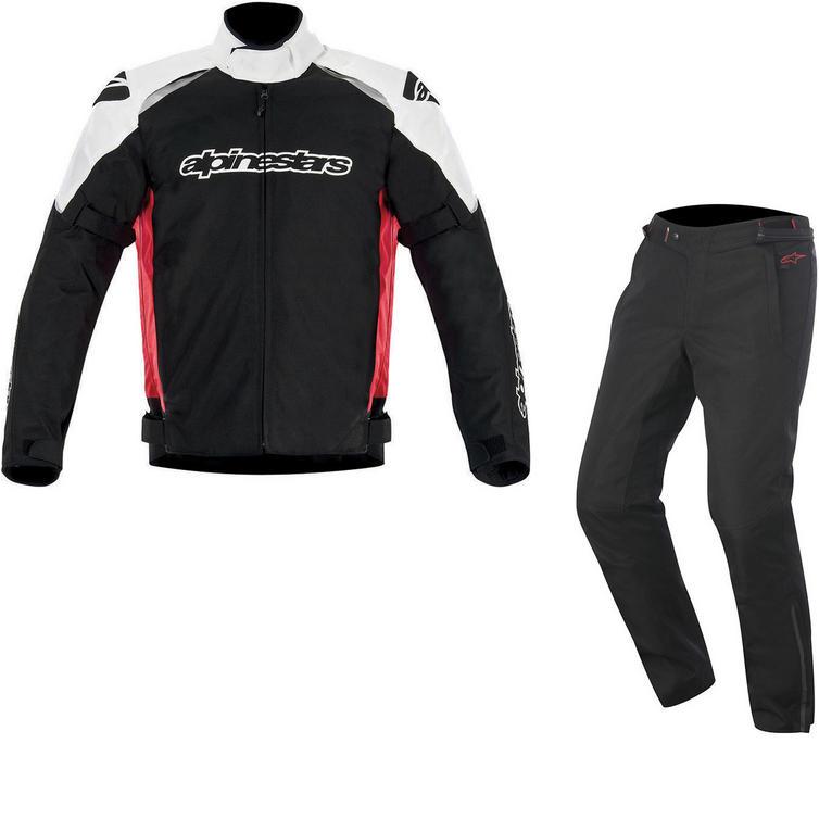 Alpinestars Gunner v2 Jacket & Protean DryStar Trousers Motorcycle Black White Red Black Kit