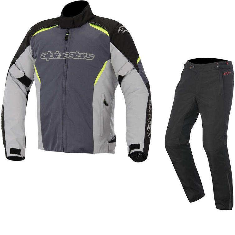 Alpinestars Gunner v2 Jacket & Protean DryStar Trousers Motorcycle Black Grey Fluo Black Kit