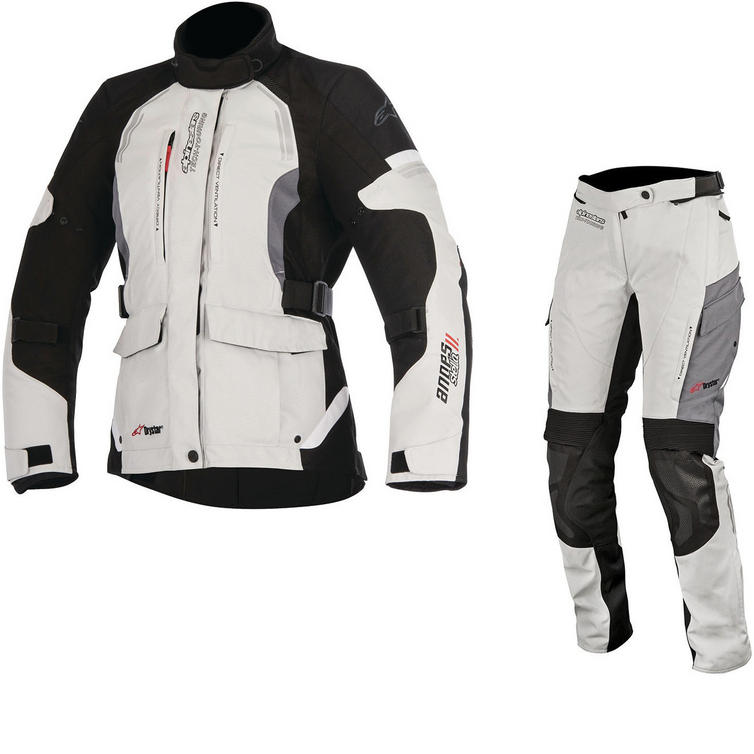 Alpinestars Stella Andes DryStar v2 Ladies Motorcycle Jacket & Trousers Grey Kit