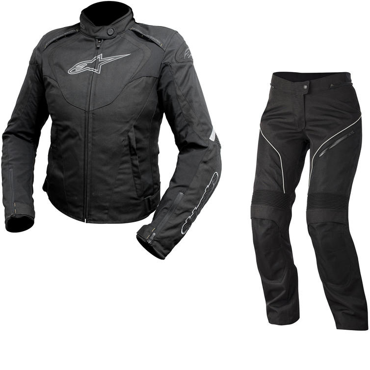 Alpinestars Stella T-Jaws WP Jacket & Stella AST-1 WP Trousers Ladies Motorcycle Black Anthracite Black White Kit