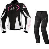 Alpinestars Stella T-Jaws WP Jacket & Stella AST-1 WP Trousers Ladies Motorcycle Black White Fuchsia Black White Kit
