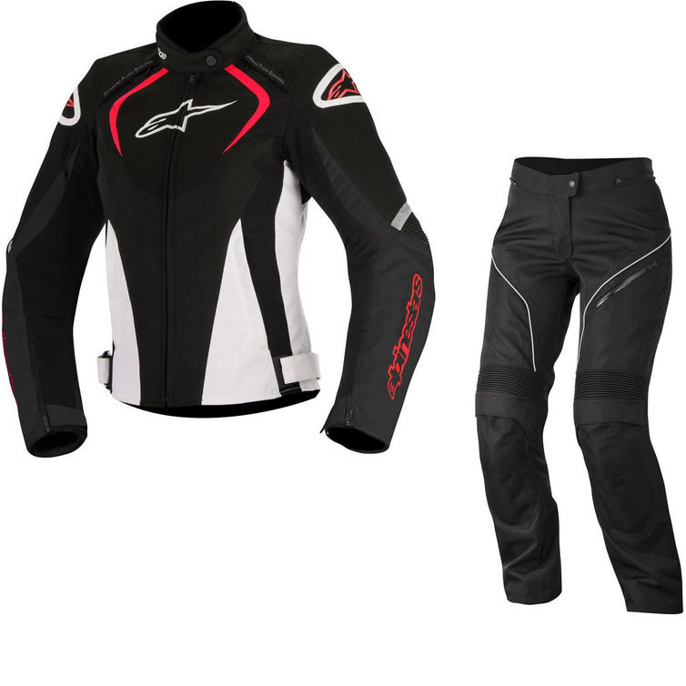 Alpinestars Stella T-Jaws WP Jacket & Stella AST-1 WP Trousers Ladies Motorcycle Black White Red Black White Kit