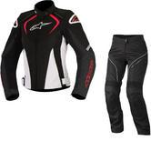 Alpinestars Stella T-Jaws WP Jacket & Stella AST-1 WP Trousers Ladies Motorcycle Black White Red Black White Kit