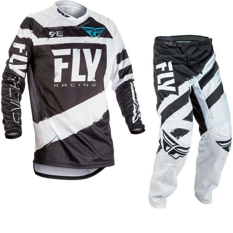 Fly Racing 2018 F-16 Motocross Jersey & Pants Black White Kit